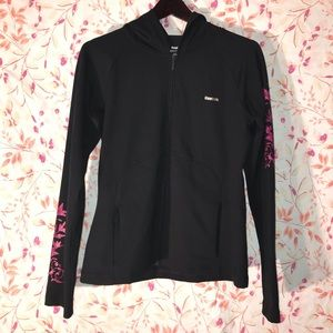 Women's Reebok Black Full Zip Long Sleeve Play Dry